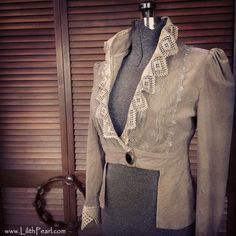 Romantic Bohemian Upcycled Velvet Jacket with Antique Lace & Antique Buttons / One of a Kind / Size Medium. $120,00, via Etsy.