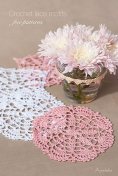 Crochet lace motifs in pink and white, free patterns | Anabelia Craft Design…