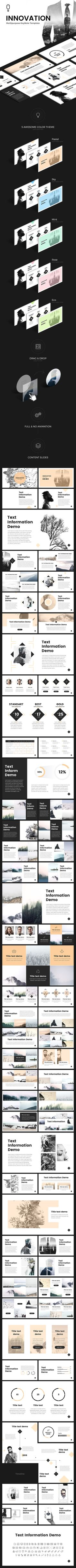 """A marketing presentation with a strict business design. It is the """"Innovation"""" PowerPoint template. The multipurpose template will help you at work. Project Presentation, Presentation Slides, Marketing Presentation, You At Work, Professional Powerpoint Templates, Project Proposal, Keynote Template, Business Design, Business Planning"""