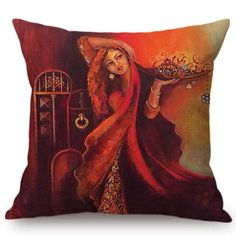Costbuys Islamic Painting Art Arab Woman Accustomed Bowl Muslim Home Adornment Daybed Throw Pillow Case Mediterranean Style Cushion Cover Decorative Pillows Sofa Throw Pillows, Throw Pillow Cases, Pillow Covers, Mediterranean Style Cushions, Cute Cushions, Islamic Paintings, Arab Women, Natural Linen, Fashion Art
