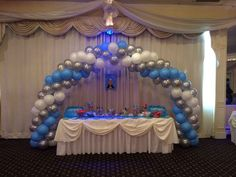 First Communion Balloon Arch Ballon Arrangement, Balloon Decorations, Table Decorations, Ballon Arch, Communion Decorations, Balloons Galore, First Holy Communion, Garland, Birthday Parties