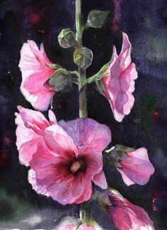 Hollyhocks. Watercolour by Fran McGarry