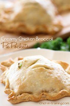 Chicken and broccoli Pie Pockets. http://www.chef-in-training.com/2013/05/creamy-chicken-broccoli-pie-pockets/