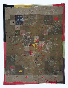 Anna Torma: Universe 1 2010 210x160cmhand embroidery on I.WW soldiers uniform quilt remake