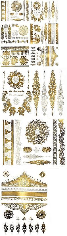 Temporary Tattoos: Premium Metallic Henna Tattoos - 75+ Mandala Boho Designs In Gold And Silver - ... BUY IT NOW ONLY: $34.39