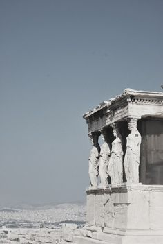 Athena, Greece - The porch of the Caryatids. These are six female statues set in place of columns.