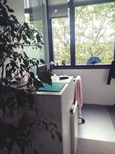 Le bureau de Nathalie, Assistante de la Direction des Affaires Publiques du groupe Crédit Agricole S.A. On aime le petit détail de l'éventail sur la fenêtre !
