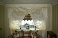 Roman Blind inside Recess - Voile Curtains with Swag & Tail Valance - Plaited top section