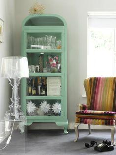 kartell lamp, mint cabinet