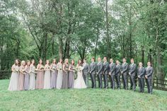 Grey and neutral mismatched bridesmaids dresses and grey groomsmen suits Virginia Countryside Fall Wedding by East Made Event Company fine art destination wedding planner and Julie Paisley Photography as featured on Style Me Pretty