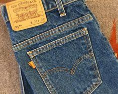 Vintage Levis Orange Tab 517 / Dark Denim Boot Cut Jeans / 33 x 32 Levi Denim Jacket, Denim Boots, Denim Shirt, White Denim, Dark Denim, Vintage Levis, Vintage 70s, Levis Jeans, Cut Jeans