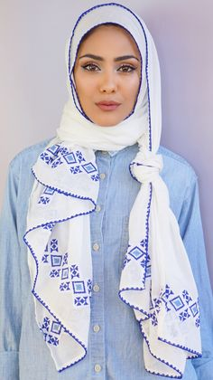 Tatreez electric blue scarf from Vela Scarves  http://velascarves.com/collections/scarves/products/tatreez-electric-blue