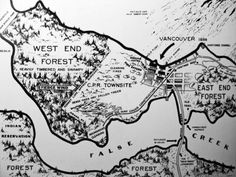 """cool map of """"downtown"""" Vancouver from note the """"fierce wind"""" blowing from the west. Vancouver Map, Downtown Vancouver, Vancouver Island, Forest Falls, Indian Creek, Visit Canada, School Pictures, School Pics, Vintage Maps"""