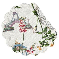 Bring a touch of charm to your tablescape with this beautiful quilted cotton placemat, showcasing a Japanese garden motif and scalloped edges.