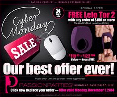 Cyber Monday Deal - Passion Parties by Julie. Free $119 toy with purchase of at least $150!! Shop Monday only at www.queenofscream.net