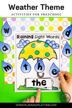 Sight Words Activity - Preschool Weather Activities