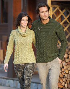Revista mujer Básicos 8 Otoño / Invierno | 12: Hombre Jersey | Verde medio MERINO ARAN KATIA