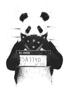 Bad panda Art Print by Balazs Solti