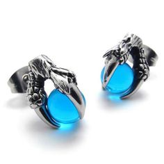 KONOV Jewelry Vintage Stainless Steel Dragon Claw Mens Stud Earrings for men Set, 2pcs, Color Silver Blue