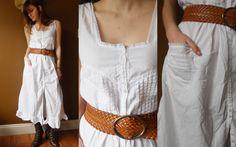 Vintage Cotton Dress White Maxi Lace Sundress Sleeveless Prairie Ruffles Medium Boho Hipster SALE. $42.00, via Etsy.