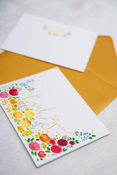 Thank you card and monogram notecard