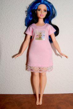 Curvy Barbie Pink Nightshirt pajamas fashionista fashion doll clothes A4B127