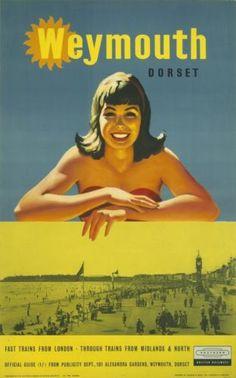 Weymouth. Posters Uk, Train Posters, Railway Posters, Poster Prints, Vintage Travel Posters, Vintage Postcards, Italy Rail, Weymouth Dorset, British Travel