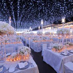 Starry Night Wedding Decor at-home-wedding-reception Night Wedding Decor, Starry Night Wedding, Wedding Ceremony, Our Wedding, Wedding Venues, Dream Wedding, Indoor Wedding, Trendy Wedding, Garden Wedding