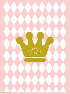 Nursery Art Print, Baby Girl's Room Decor, Girl's Room Wall Art, Dusty Pink Poster, Crown Print, Princess Decor, Elegant Decor - My Princess