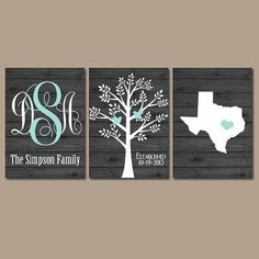 Family Tree State Monogram Wood Effect Wall Art by TRMdesign wedding gift ideas #wedding