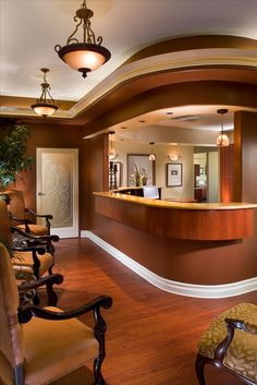 Location: Moreno Dental & Spa, San Clemente, CA Project Size: Approx. dental office and spa Services: From Design to Installation Medical Office Decor, Dental Office Design, Office Interior Design, Dental Offices, Front Office, Front Desk, Office Reception Area, Dental Reception, Spa Reception