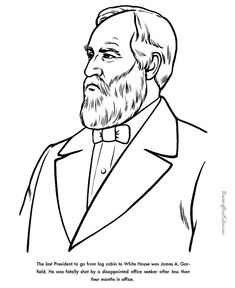 free printable president james a garfield facts and coloring picture