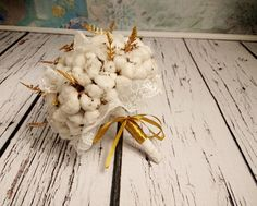 Natural raw cotton balls gold ferns rustic wedding BOUQUET autumn, winter wedding, winter wonderland, elegant bouquet, cotton lace bouquet - pinned by pin4etsy.com
