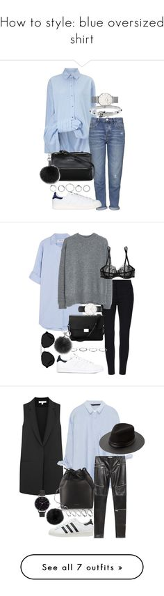 """""""How to style: blue oversized shirt"""" by blendingtwostyles ❤ liked on Polyvore featuring Victoria, Victoria Beckham, Topshop, CLUSE, Givenchy, adidas Originals, Michael Kors, Rebecca Minkoff, adidas, MiH Jeans and MANGO"""