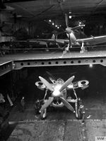Fairley Barracuda inside the HMS Furious in April 1944.