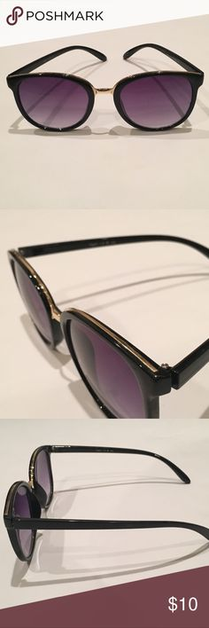 Gold and Black 100% UV Protection Sunglasses These 100% UV Protection sunglasses are definitely trendy! Wear them to the beach or pool. Black frames features a gold bridge. Suggested for ages 14 & Up (staring directly at the sun is for adult only, kiddos).  Labeled Made in China Accessories Glasses