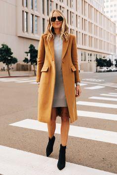 Fashion Jackson Wearing Club Monaco Camel Coat Grey Sweater Dress Black Booties Grey Sweater Outfit, Camel Coat Outfit, Sweater Dresses, Clothing Staples, Long Wool Coat, Fashion Jackson, Legging Outfits, Fall Outfits, Casual Outfits