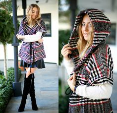 Coco Bolinho - A Secret Shop Coat, Jessica Buurman Over The Knees, Zara Skirt - Winter Tartan