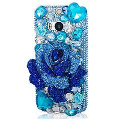 Mavis's Diary Handmade Luxury Blue Crystal Rose Diamond Rhinestone Design Bling Clear Hard Cover Case with Soft Clean Cloth for Sony Xperia Z (Blue Rose) Htc Phone Cases, Crystal Rose, Mobile Cases, Sony Xperia, Blue Crystals, Protective Cases, Bling, Bows, Diamond