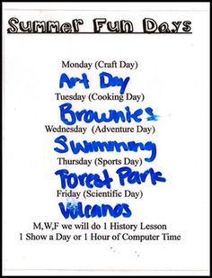 summer schedule I could have fun with