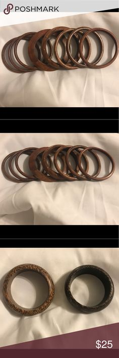 Wooden bangles - multiple widths Beautiful wooden bangles perfect to go with flowy summer dresses. Perfect condition, no visible wear or damage. Jewelry Bracelets