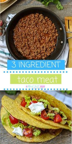 This is the best recipe taco meat! Made with the just the right ratio of spices, this taco meat is perfect for tacos, burritos, taco salad, or taco pizza. Best Taco Meat Recipe, Meat Recipes, Mexican Food Recipes, Real Food Recipes, Cooking Recipes, Dinner Recipes, Mexican Desserts, Real Foods, Mexican Cooking