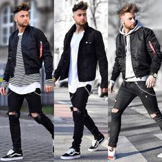 Choose 1 2 or - by - Hottest Men's and Trending Styles - Celebrities and Pop - Inspiration for Bargain Hunters - Street Fashion Guide for Fashionistas and Shopaholics - Casual Men's and Accessories - Magazine Advertising and Editoria Black Denim Jacket Outfit, Black Vans Outfit, Black Jeans, Streetwear Mode, Streetwear Fashion, Cool Outfits, Casual Outfits, Men Casual, Urban Fashion