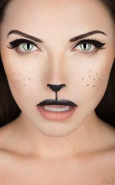 Halloween How-To: Black Cat Makeup Perfect for Wizard of Oz, Cowardly Lion! www.hollywoodblondesalon.com