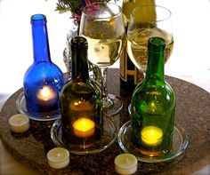 Wine Bottles Converted to Set of 3 Upcycled Wine by 2DirtyBirds, $32.00
