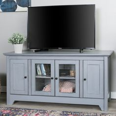 52 Inch Transitional Wood Glass TV Stand - Antique Gray | RC Willey Furniture Store