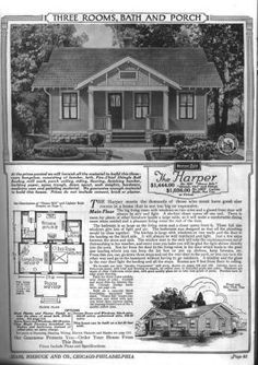 By 1921, the bungalow style home appeared in mail order catalogs from many vendors, including Chicago's Sears, Roebuck & Company. Here is a sampling.: Sears Modern Home No. 3087, The Harper, circa 1921