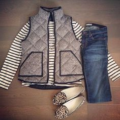 Designer Style Herringbone Puffer Quilted Vest Black White SML XL NWT #Unbranded