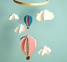 Hot air balloon mobile: goshandgolly//I'd rather make this...for Jewels and Cory's wedding?