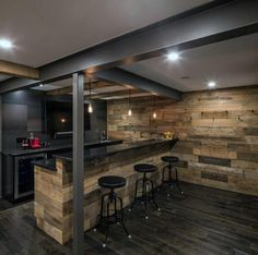 If you anticipate having a bar in your man cave, then you will probably require a means to hold all your shot glasses. Nowadays you own a bar to call all of your own! The bar seamlessly transitions into the… Continue Reading → Rustic Basement Bar, Basement Bar Designs, Home Bar Designs, Modern Basement, Teen Basement, Rustic Kitchen, Basement Office, Basement Apartment, Basement Stair